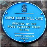 SO5923 : Copse Cross Tollgate blue plaque, Ross-on-Wye by Jaggery