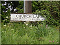 TM1241 : Church Lane sign by Adrian Cable