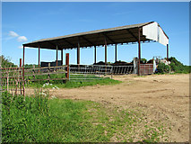 TM4592 : Shed and cattle yard at Sutton's Farm, Aldeby by Evelyn Simak