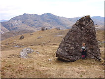 NM9095 : Glacial erratic above Coire na Ciche by Sally