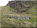 NN5240 : Shielings and cliffs in Coire Laoghain by wrobison