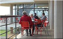 TQ7407 : Tea on the terrace, De La Warr Pavilion by Julian P Guffogg