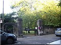 NT2473 : Entrance gateway to St Cuthbert's Church by Stanley Howe