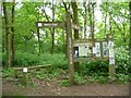 SK5952 : Signpost and noticeboard, Blidworth Woods car park by Christine Johnstone