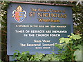 TM4882 : St.Nicholas Church sign by Adrian Cable