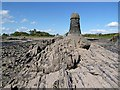 NX5849 : A navigation pillar at Knockbrex Bay by Walter Baxter