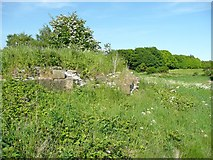 SE2525 : Ruins of Howley Hall, dressed masonry cladding a plinth by Humphrey Bolton