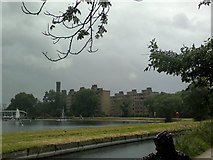 TQ3287 : View of flats on Green Lanes and the Castle Climbing Centre from the New River Walkway by Robert Lamb