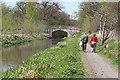 NT1570 : Walkers at Gogar Moor Bridge by Anne Burgess