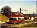 SU6773 : A trolleybus for Tilehurst climbing Norcot Road by Richard Green
