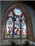 SU5355 : All Saints, Hannington: stained glass window above the altar by Basher Eyre