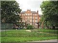 TQ3176 : Dog exercise area, Myatt's Fields Park, and Calais Gate flats by Robin Stott