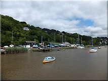 SX4268 : Sailing boats in the boatyard at Calstock quay by David Smith