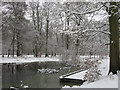 SP9713 : Clickmere Pond, Ashridge, in the snow (late February 2010) by Chris Reynolds
