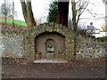 SO4814 : Disused drinking trough near the lych gate, Rockfield by Jaggery