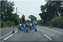 SJ2618 : Road works near Four Crosses by Bill Boaden
