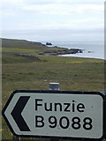 HU5892 : Fetlar: signpost to Funzie by Chris Downer