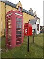 HU3688 : North Roe: postbox № ZE2 111 and phone by Chris Downer