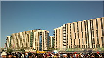 TQ3785 : View of flats in the Olympic Village from the green at the back of the Velodrome by Robert Lamb