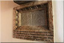 SK9324 : Newton's sundial, St John the Baptist church by J.Hannan-Briggs