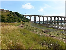 NT9953 : Royal Border Bridge and remains of Castle Walls by Clive Nicholson
