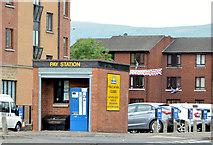 J3373 : Former car park hut, Belfast by Albert Bridge