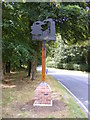 TM3067 : Badingham Village sign & A1120 Carrs Hill by Adrian Cable