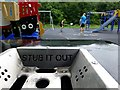 """H4672 : """"Stub it out"""" bin near  the play area at Lovers Retreat by Kenneth  Allen"""