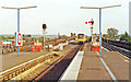 TQ1483 : Greenford station, with DMU leaving, 1991 by Ben Brooksbank