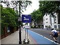 TQ2978 : 3km Marker on RideLondon route in Grosvenor Road, Pimlico by PAUL FARMER