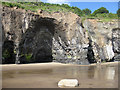 NZ8513 : Quarrying evidence at the base of the cliffs by Pauline E