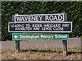 TM3491 : Waveney Road sign by Geographer