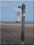 SJ1285 : Talacre: footpath signpost on the beach by Chris Downer
