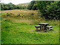 SN9722 : Picnic table near a parking area alongside the A470 in the Brecon Beacons by Jaggery