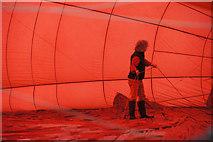 NO1124 : Inflating a hot air balloon at North Inch, Perth by Mike Pennington