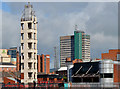 J3473 : Fire Brigade training tower and Windsor House, Belfast by Albert Bridge