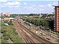 SJ8499 : Rail (and Tram) Lines into Manchester Victoria by David Dixon