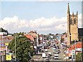 SJ8499 : Manchester, Cheetham Hill Road and St Chad's Church Tower by David Dixon