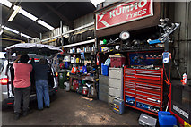 SU4212 : Interior of Radcliffe Road Garage, Northam by Peter Facey