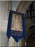 TQ1649 : St Martin, Dorking: banner (I) by Basher Eyre
