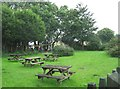 SJ6220 : The Seven Stars Inn (4) - beer garden, Whitchurch Road near Cold Hatton, Shropshire by P L Chadwick