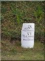 TG2803 : Milestone on the A146 Loddon Road by Adrian Cable