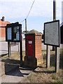 TG2902 : Village Map, Village Notice Board & Village Hall Victorian Postbox by Adrian Cable