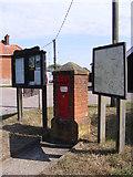 TG2902 : Village Map, Village Notice Board & Village Hall Victorian Postbox by Adrian Cable