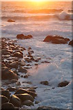 SW3526 : Rocky foreshore at sunset in Sennen Cove by Rod Allday