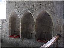 NY9393 : St. Cuthbert's Church, Elsdon - sedilia by Mike Quinn