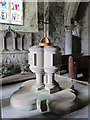 NY9393 : St. Cuthbert's Church, Elsdon - font by Mike Quinn