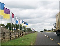 N2721 : Irish county GAA colours display at the entrance to Kilsaran's Bunaterin Quarry on the N52 by Eric Jones