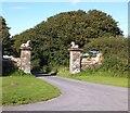 SS2923 : Highford Farm gateway by David Smith