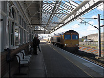 NT9953 : Northbound freight through Berwick-upon-Tweed station by Stephen Craven